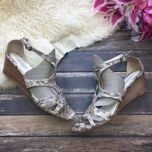 Badgley Mischka Snake Print Wedge Sandals